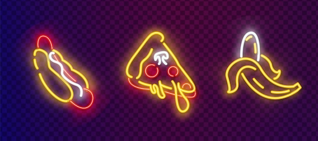 Conjunto de ícones pop art. sinal de néon pop art. cachorro-quente, pizza e banana vector neon