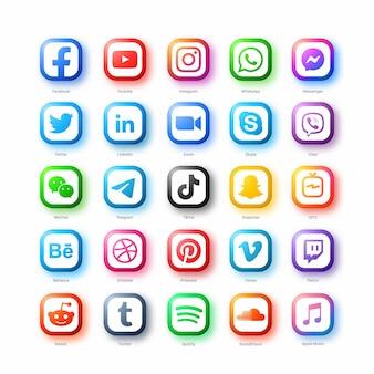 Conjunto de ícones populares de redes de mídia social em estilo moderno em fundo branco