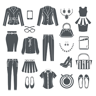 Conjunto de ícones pretos de coleção de roupas de mulher moderna de vestido calça blusa calça jeans bolsa sapatos e ilustração em vetor jóias plana isolada