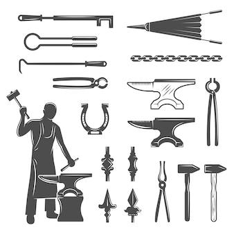Conjunto de ícones pretos de ferreiro