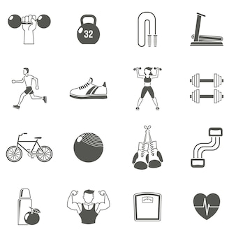 Conjunto de ícones pretos de fitness