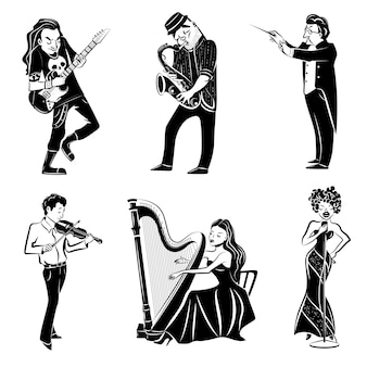 Conjunto de ícones pretos de músicos