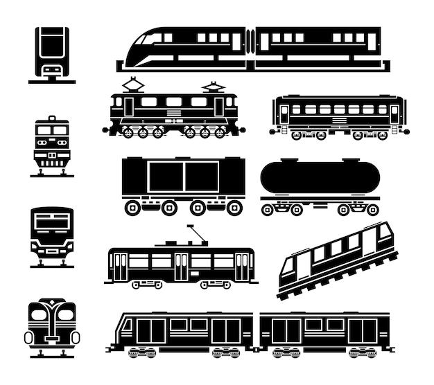 Conjunto de ícones pretos de transporte público ferroviário e de passageiros. transporte e vagão, transporte de passageiros, bonde urbano