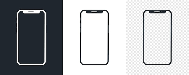 Conjunto de ícones pretos do smartphone. modelo de ícone de telefone móvel simples. branco e preto. ilustração vetorial