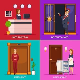 Conjunto de ícones quadrados de conceito de serviço de hotel com personagens de desenhos animados do porteiro recepcionista camareiro