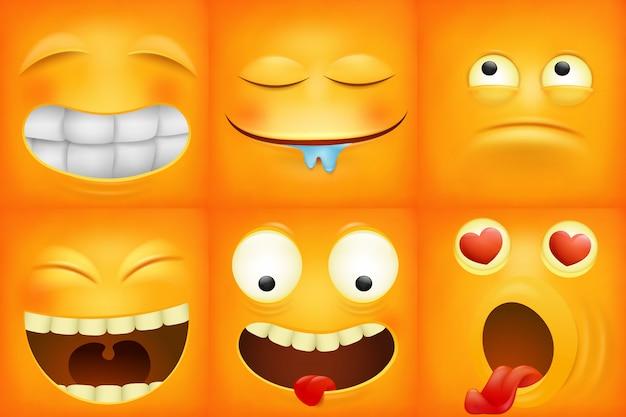 Conjunto de ícones quadrados de emoticon amarelo dos desenhos animados.
