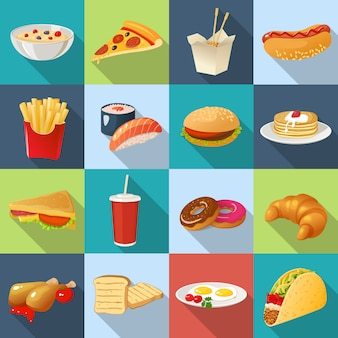 Conjunto de ícones quadrados de fast-food