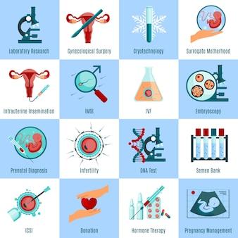 Conjunto de ícones quadrados de inseminação artificial