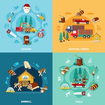 Conjunto de ícones quadrados de lenhador