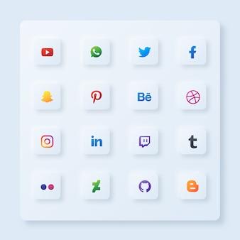Conjunto de ícones quadrados de mídia social com estilo de neumorfismo