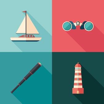 Conjunto de ícones quadrados marinhos planas