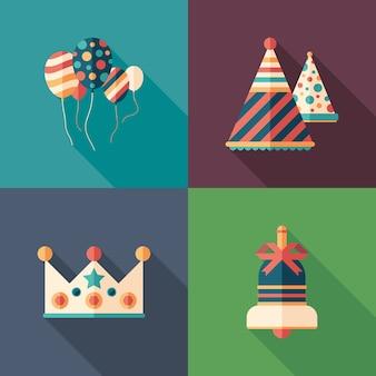 Conjunto de ícones quadrados plana de celebração de aniversário.