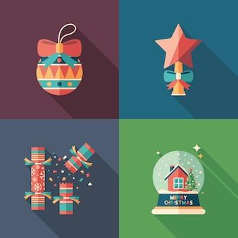Conjunto de ícones quadrados plana de feliz natal.