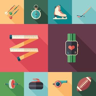 Conjunto de ícones quadrados planas de esportes e saúde.