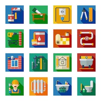 Conjunto de ícones quadrados reparação casa plana Vetor Premium