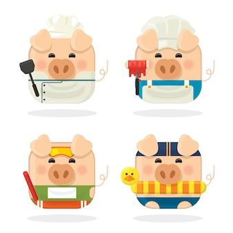 Conjunto de ícones quatro porco com personagem de desenho animado bonitinho porquinho