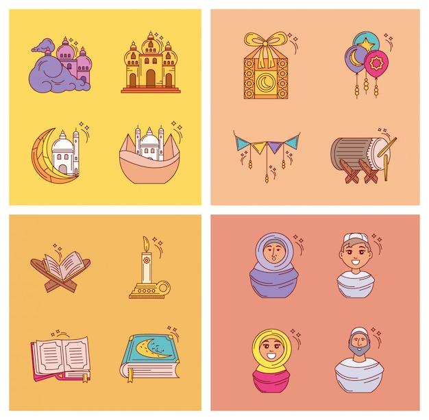 Conjunto de ícones ramadan kareem