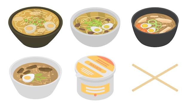 Conjunto de ícones ramen, estilo isométrico
