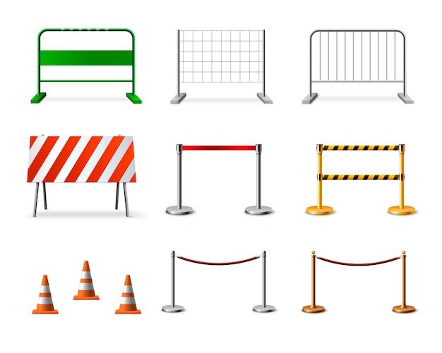 Conjunto de ícones realista de barreira de esgrima temporária