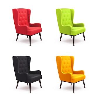 Conjunto de ícones realista de cadeira