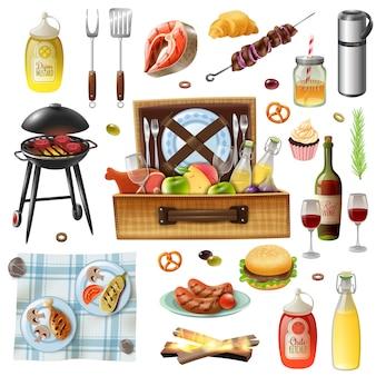 Conjunto de ícones realista de churrasco de família piquenique