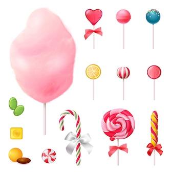 Conjunto de ícones realista de doces