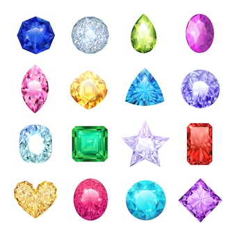 Conjunto de ícones realista de gem com diferentes tamanhos e cores rubi diamante safira ilustração vetorial