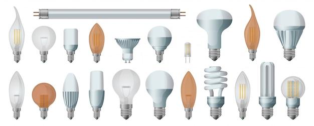 Conjunto de ícones realista de lâmpada de halogênio