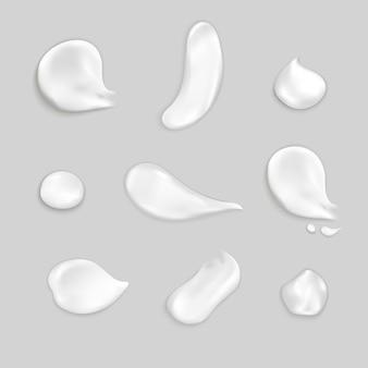 Conjunto de ícones realista de manchas de creme cosmético