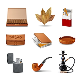 Conjunto de ícones realista decorativo de tabaco