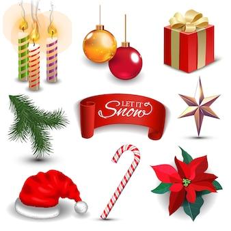 Conjunto de ícones realistas de decoração de feriado de ano novo de natal ilustração