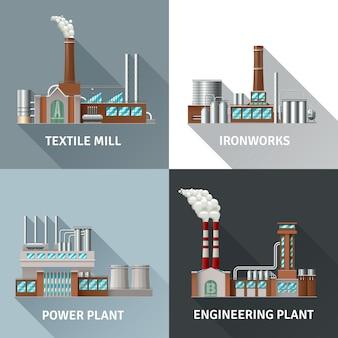 Conjunto de ícones realistas de design de edifício de fábrica