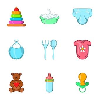 Conjunto de ícones recém-nascido, estilo cartoon