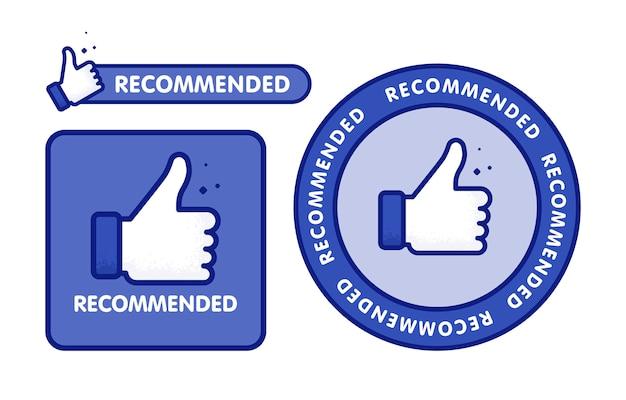 Conjunto de ícones recomendado. rótulo de linha recomendado com polegar para cima. assine a marca com recomendado. melhor tag para ótimo brend. banner polegar para cima em fundo isolado.