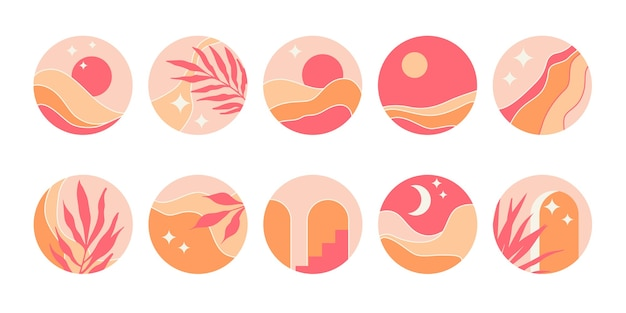 Conjunto de ícones redondos abstratos para capas de destaque.