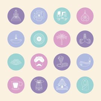 Conjunto de ícones redondos da cultura indiana