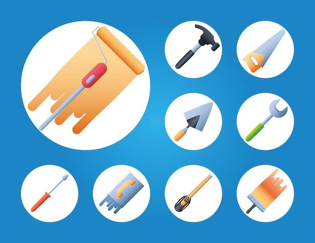 Conjunto de ícones redondos para remodelar a casa com tinta a rolo cor martelo serra espátula chave de fenda