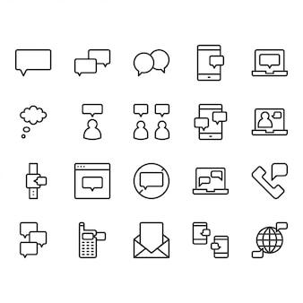Conjunto de ícones relacionados a bolha de mensagem e discurso
