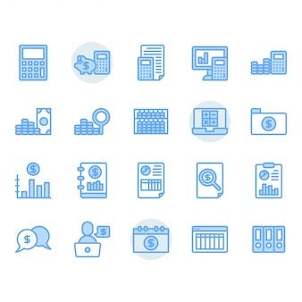Conjunto de ícones relacionados à contabilidade