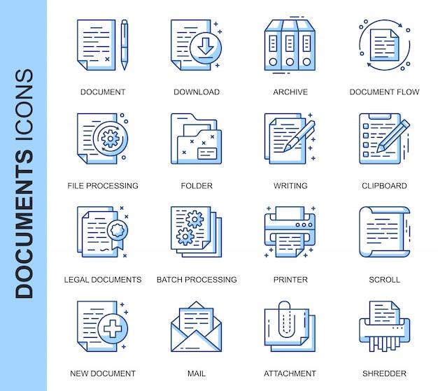 Conjunto de ícones relacionados a documentos de linha fina