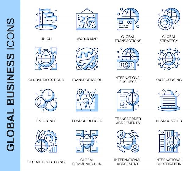 Conjunto de ícones relacionados a negócios globais de linha fina
