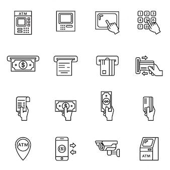 Conjunto de ícones relacionados ao atm