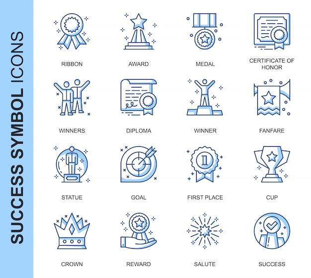 Conjunto de ícones relacionados ao sucesso da linha fina