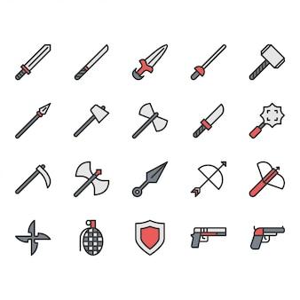 Conjunto de ícones relacionados com armas