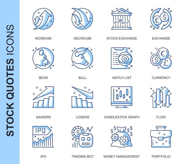 Conjunto de ícones relacionados com cotações de ações da linha fina
