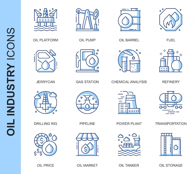 Conjunto de ícones relacionados da indústria de petróleo de linha fina