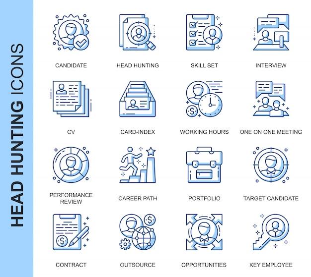 Conjunto de ícones relacionados de caça de cabeça de linha fina