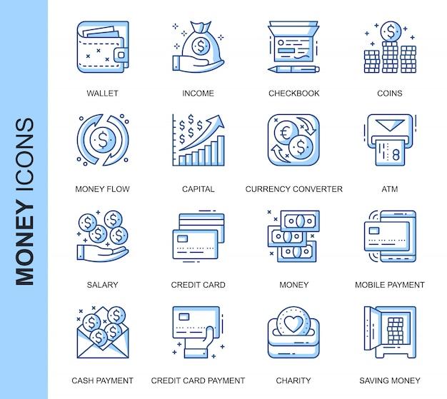 Conjunto de ícones relacionados de dinheiro de linha fina