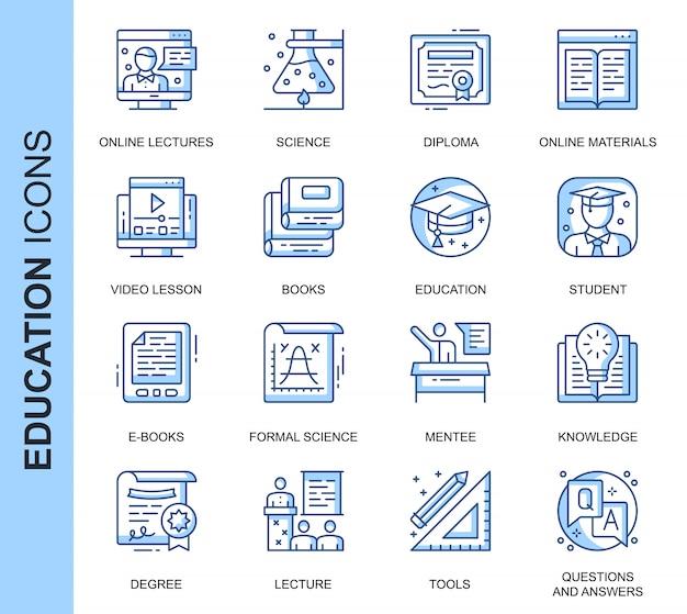 Conjunto de ícones relacionados de educação de linha fina