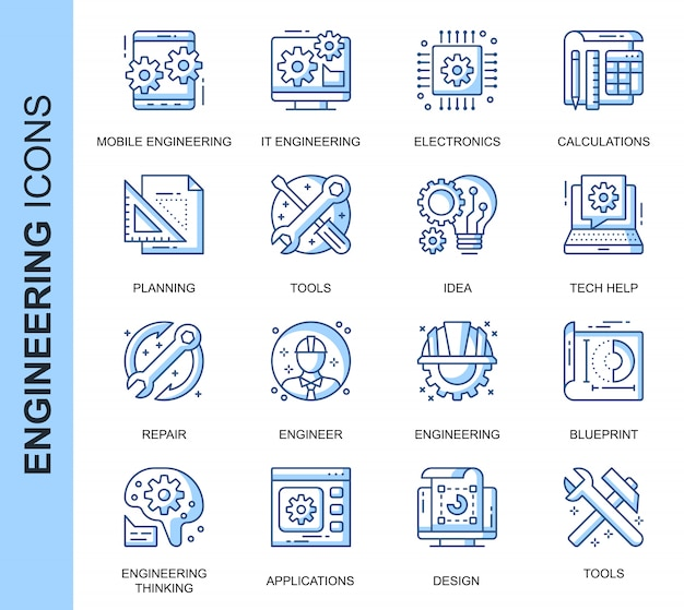 Conjunto de ícones relacionados de engenharia de linha fina